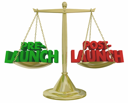 Pre- Vs Post-Launch Scale Words Before After Start New Product Scale 3d Illustration Stock Photo