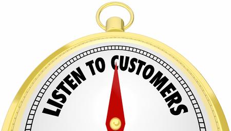 Listen to Customers Compass Hear Buyers Needs 3d Illustration