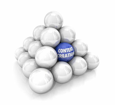 Content Creation Balls Creëren van nieuwe online materiaal 3D-afbeelding