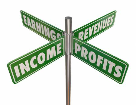 Income Profits Earnings Revenues Street Road Signs 3d Illustration Reklamní fotografie