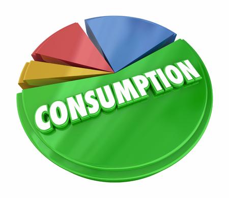 Consumption Pie Chart Consume Resources Products 3d Illustration