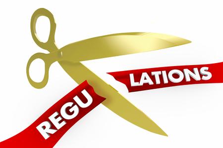 Regulations Scissors Cutting Red Tape Rules 3d Illustration