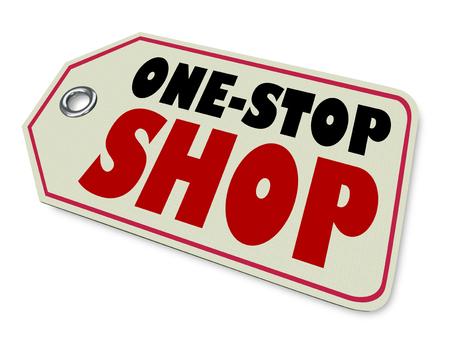 One-Stop Shop Preço Tag Produto loja Anúncio Ilustração 3d
