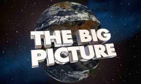 The Big Picture Earth Opening World Words 3d Illustration