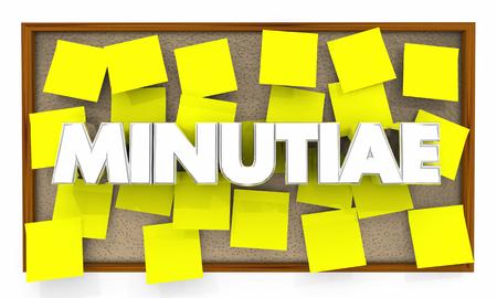 Minutiae Many Little Details Sticky Notes Board 3d Illustration