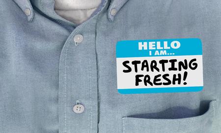 Starting Fresh Hello Name Tag Sticker New Beginning 3d Illustration