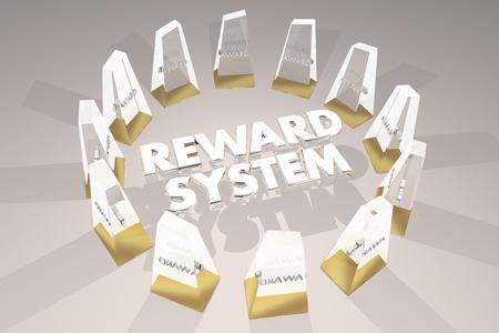 Illustrazione di ingrandimento 3d di motivazione dei premi del sistema di ricompensa