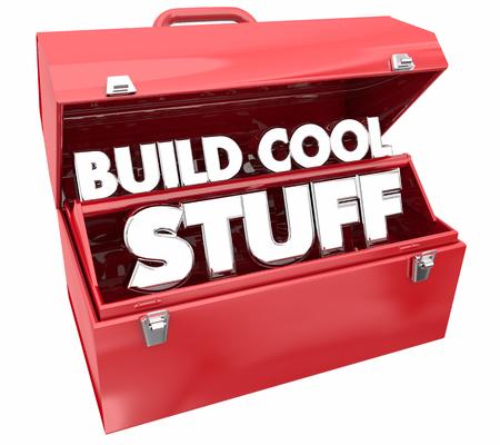 Build Cool Stuff Toolbox Words Make Invent 3d Illustration