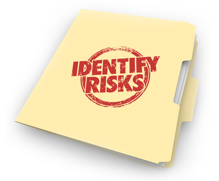Identify Risks Reduce Liability Manila Folder Documents 3d Illustration Stok Fotoğraf