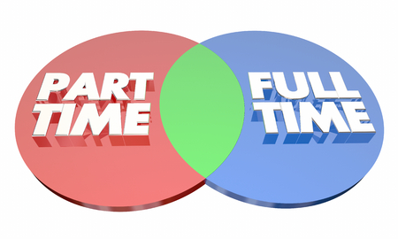 Part Time Vs Full Time Work Employment Venn Diagram 3d Illustration Фото со стока - 94586038