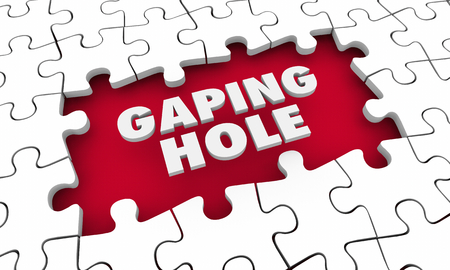 Gaping Hole Puzzle Piece Gap Words Big Shortfall Miss 3d Illustration Stok Fotoğraf