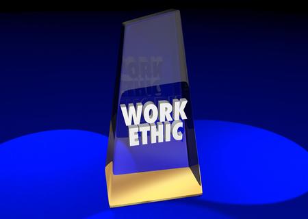 Work Ethic Best Employee Attitude Commitment Award 3d Illustration