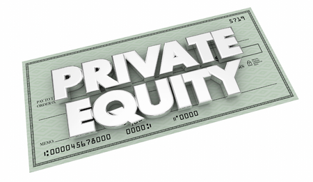 Private Equity Money Check Investment Funding 3d Illustration Archivio Fotografico