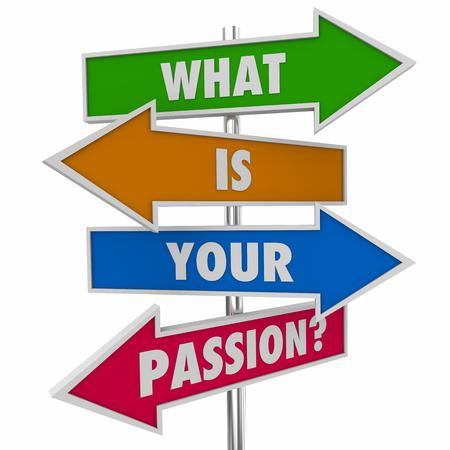당신의 열정은 무엇입니까 질문 화살표 표지판 3d 일러스트