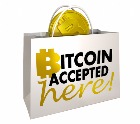 Bitcoin Accepted Here Crypto Payment Shopping Bag 3d Illustration