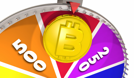Bitcoin Cryptocurrency Payment System Game Show Wheel Win Jackpot 3d Illustration Stock Photo