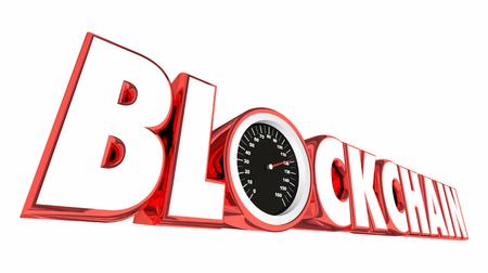 Blockchain Technology Speedometer Transaction Tracking 3d Illustration