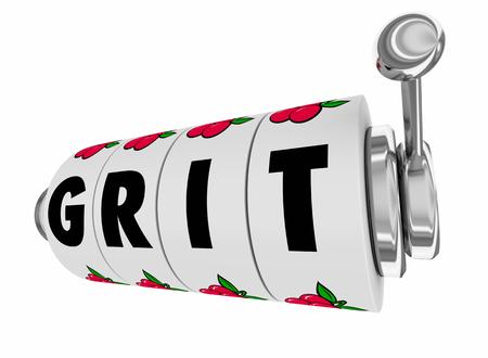 Grit Passion Commitment Working Hard Slot Machine 3d Illustration