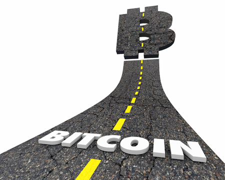 Bitcoin Road to Cryptocurrency New Money Payment System 3d Illustration