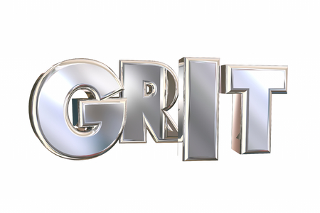 Grit Word Silver Letters Passion Work Ethic 3d Illustration