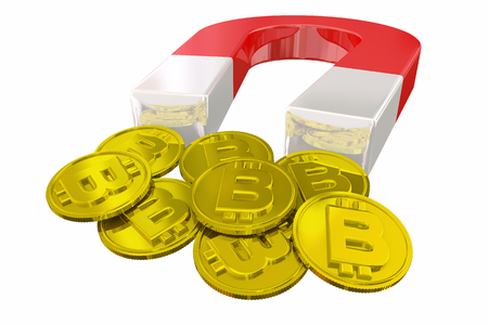 Bitcoin Magnet Make Money Cryptocurrency Coins 3d Illustration