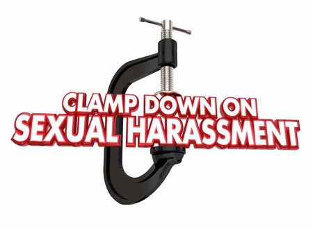 Clamp Down on Sexual Harassment Stop Abuse 3d Illustration Фото со стока