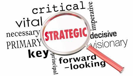 Word van het strategische Planningvergrootglas Collage 3d Illustratie