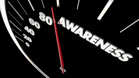 Awareness Speedometer Increase Knowledge 3d Illustration Imagens