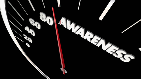Awareness Speedometer Increase Knowledge 3d Illustration Stock Photo