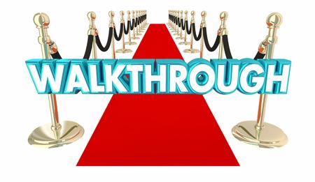 Walkthrough Guided Tour Red Carpet Word 3d Illustration