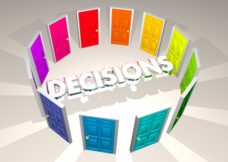Decisions Choices Doors Potential Opportunities 3d Illustration