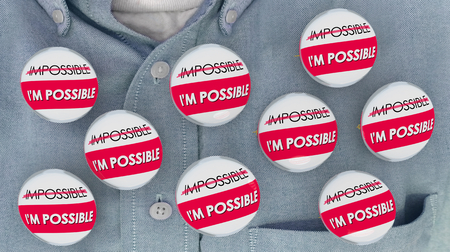 Im Possible Vs Impossible Buttons Pins 3d Illustration