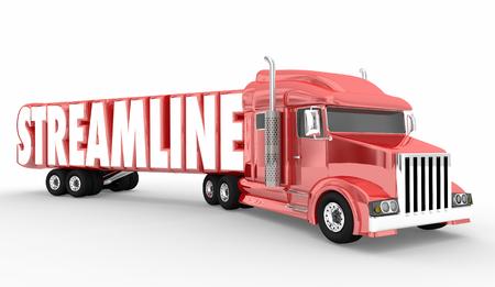 Streamline Truck Improve Efficiency Reduce Time Effort 3d Illustration