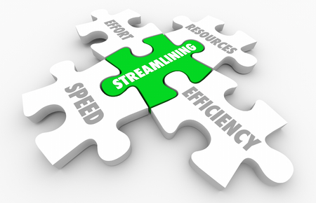 Streamlining Resources Speed Efficiency Puzzle Pieces 3d Illustration Reklamní fotografie
