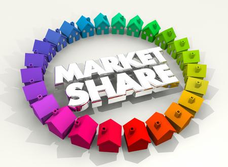 Marktaandeel Huizen Huizen Lokaal Bedrijfssucces 3d Illustratie