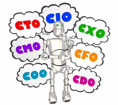 CIO CTO CXO COO Robot Thought Clouds 3d Illustration