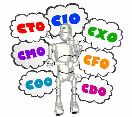 CIO CTO CXO COO Robot Thought Clouds 3d Illustration
