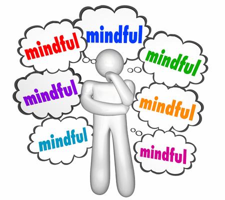 Mindful Speech Bubbles Thinker Thinking Person Mindfulness 3d Illustration Stock Photo