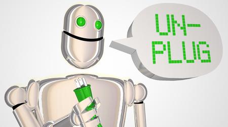 Koppel de robot los Neem pauze Schakel de elektriciteits 3d illustratie uit