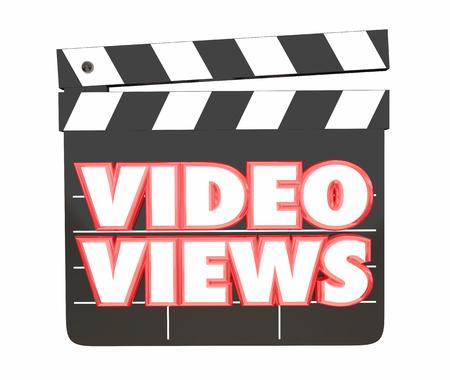 Video Views Audience Online Movie Traffic Clapper Board 3d Illustration