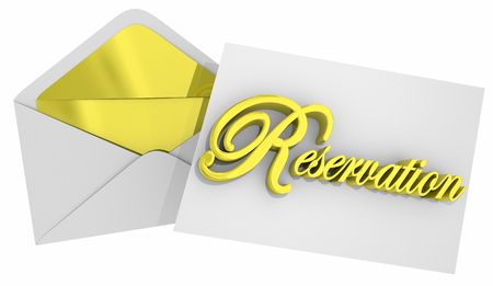 Reservation Envelope Invitation Reserve Your Seat 3d Illustration Stock Photo