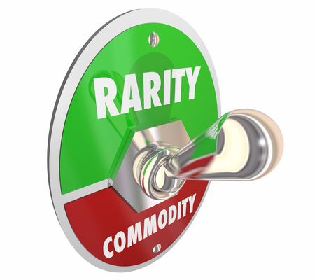 Rarity Vs Commodity Toggle Switch Rare 3d Illustration Stok Fotoğraf