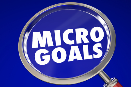 Micro Goals Small Tasks Jobs Magnifying Glass 3d Illustration