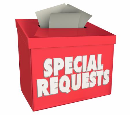 Demandes spéciales Boîte de collecte des besoins Besoins Illustration 3d