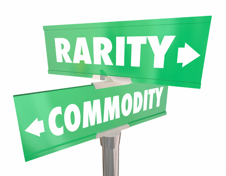 Rarity Vs Commodity Two Road Signs 2 Choices 3d Illustration