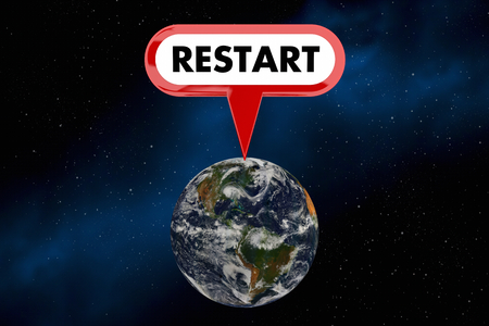 Restart Earth Planet Space Environment 3d Illustration - Elements of this image furnished by NASA. Stock Photo
