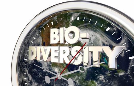 Biodiversity World Planet Earth Clock Time 3d Illustration -