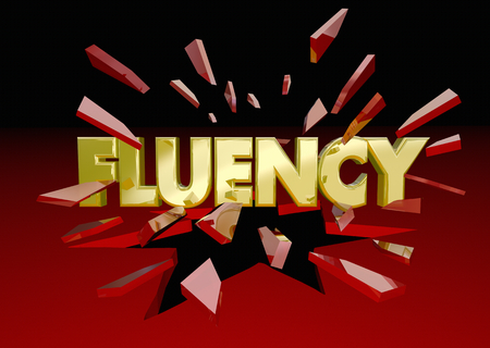 Fluency Word Breaking Glass Fluent in Language 3d Illustration