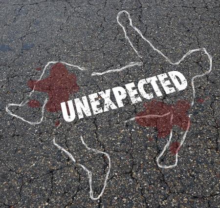 Unexpected Shock Surprise Dead Body Chalk Outline Illustration Stock Photo