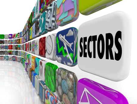 Sectors Different Industries Market Segments Customers 3d Illustration